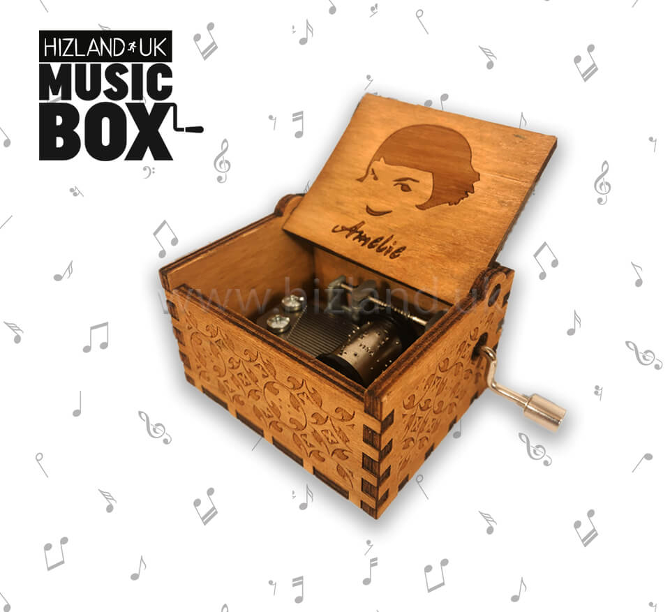 New Amelie Music Box Wooden Hand Crank