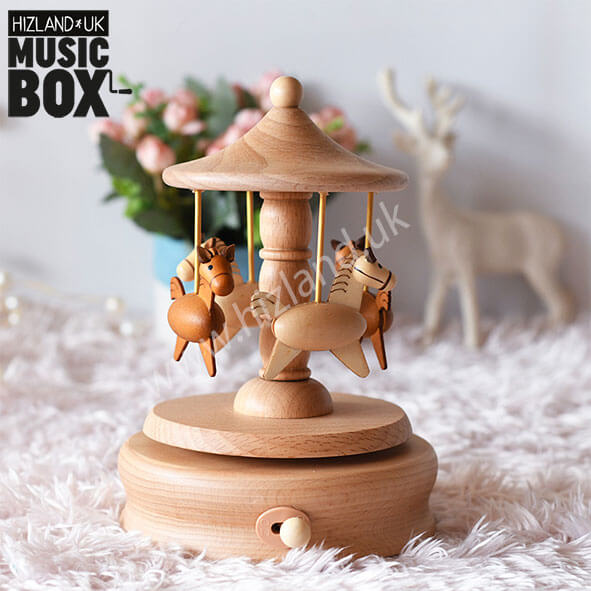 Wooden Carousel Horse Music Box | Merry Go Round