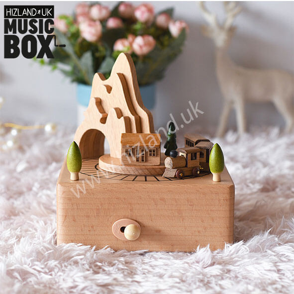 Wooden Train Music Box | Wind Up Musical Carousel